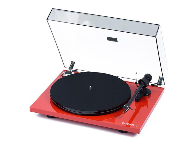 Pro-Ject lemezjátszó Essential III tetővel piros